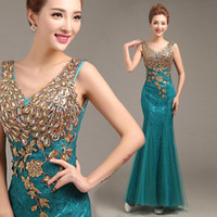 Wholesale Turquoise Lace Dress Cheap - Cheap Mother of the Bride Lace Turquoise Mermaid Evening Dresses Dress Long Dresses Evening Wear 2015 New Arrival Formal Dresses