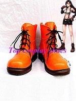 Wholesale Tifa Lockhart Costumes - Wholesale-Freeshipping custom-made anime Final Fantasy VII Tifa Lockhart Orange Cosplay Boots shoes for Halloween Christmas festival