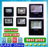 Wholesale Cheapest Outdoor Lighting - Cheapest !! Waterproof IP65 Led Floodlight Light 10W 20W 30W 50W 70W 100W 85-265V LED outdoor flood lighting Black Ultar Thin DHL shipping
