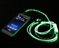 Wholesale Tablet Flash Light - Sport Flow LED Glow Flash Light in Dark Lighting in ear Earphone Earbud Headset With Microphone For iphone Smartphone Tablet iPod xiaomi
