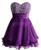 2016 A-line caldo cristalli Sweetheart senza maniche Lace-up Homecoming Abito corto in chiffon mini abito da cocktail Prom Dress increspato