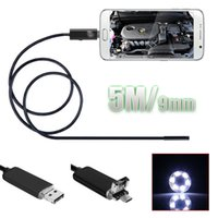 5M / 16.4FT 9mm 6 LEDs Waterproof Endoscope Borescope Snake Tube Camera Micro USB Camera de Inspeção para Android PC SUR_20U