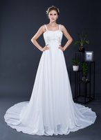 Wholesale Designer Crystal Wedding Gowns Sweetheart - In Stock Sweetheart Chiffon Bridal Wedding Dress Spaghetti Straps Beach Maternity Plus Size Bridal Wedding Gowns
