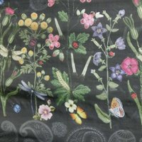 Wholesale Digital Printed Silk Chiffon Fabric - dpc-33071 Flowers Paisley on Black 100% Pure Silk Digital Printed Silk Chiffon Fabric 6 momme for DressMaking By Meter