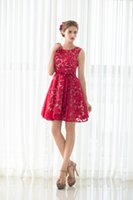 Wholesale Elegant Vintage Bridesmaid Dresses - 100% Real Picture In Stock Scoop Neck Short Bridesmaid Dresses 2017 Red Lace Mini Short Zipper Back Elegant Evening Prom Party Dress