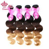 12 inç ombre saç uzantıları toptan satış-Kraliçe Saç Ürünleri Yeni Varış Ombre Renk 1b / # 4 / # 27 Üç Ton Bakire Brezilyalı Saç Vücut Dalga Ombre Saç Uzantıları 4 adetgrup