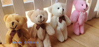 Wholesale Teddy Bears Small Size - SIZE SMALLEST 8CM Joint Bowtie Teddy Bear Plush TOY DOLL ; 4Colors Choice - Stuffed TOY Wedding Bouquet DOLL TOY