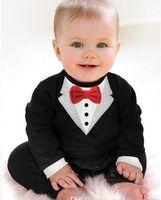 Wholesale Tuxedo Suits For Girls - 2017 New Born Boy Baby Formal Suit Tuxedo Romper Pants Jumpsuit Gentleman Clothes for Infant Baby Romper Jumpsuits