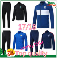 Wholesale Set Jacket - Best Quality Soccer set Jacket RONALDO tracksuit 2017 2018 Inter real Madrid jackets 17 18 milan ICARDI Football jacket kit Free shipping