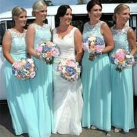hellblaues ärmelloses hochzeitskleid großhandel-Light Sky Blue Lace Chiffon Brautjungfernkleider für Hochzeit Scoop Neck Romantische lange ärmellose Frau Formal Party Gown
