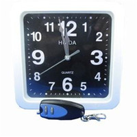 Wholesale White Dvr Clock - 2.4Ghz Clock spy White square wall clock hidden spy camera dvr with 16GB memory Wall Clock Spy Camera with Remote Control