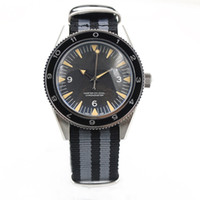 Wholesale Mechanical Belt Buckles - New Stylish Automatic Sea 300 Spectre Limited Edition Men's Wristwatch Fabric Belt Glass Back Chronometer James Bond Spectre Male Watch