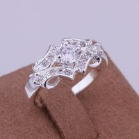 Wholesale South Africa Wedding - Western South Africa Dubai Stering Silver 925Exquisite zircon Ring Hot Sale Girl Gift Elegant Stone For Wedding Engagement Party Birthday
