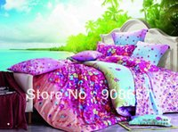 Wholesale Magenta Bedding Sets Flowers - magenta pink omber flowers prints 500TC cotton bed linens cheaper bedding set duvet covers 4pc for full queen comforter quilt