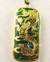 Wholesale Jade Dragon Pendant Jewelry - Wholesale Superb 18KGP dragon Green Jade Men's Jewelry pendant and necklace Cheap Free Shiping