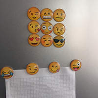 Wholesale Expressions Notes - 2017 Free Shipping 13 Styles Round Emoji Expression Fridge Magnet Refrigerator Note Stickers Message Holder