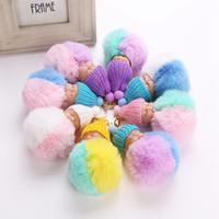 Wholesale Cars Knit Hat - Fluffy Sleeping Baby Doll 8cm Knit Hat Keychain Faux Rabbit Fur Bag Pom Pom Hat Key Ring Soft Pendant LJJO3478