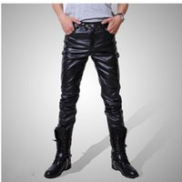 Wholesale Male Leather Costume - Mens Skinny Hip-Hop PU Leather Pants Shiny Black Trousers Nightclub Stage Costumes for Singers Dancer Male jeans Plus Size