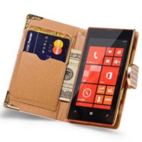 Wholesale Lumia Bling - Wallet Flip Leather Case for Nokia Lumia 520 Bling Rhinestone Phone Case for Microsoft Lumia 520 Gold Back Cover with Card Slot