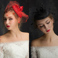 Wholesale Hats Short Hair - Wedding Hair Accessories Red Sexy Tulle Wedding Veils Short Bridal Birdcage Hats Party Dress Beads Hat Elegant Blusher Veil Prom Gowns
