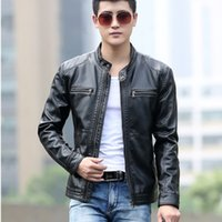 Wholesale Hot Mens Winter Leather Coats - 2018 David Beckham Faur Leather Jacket Hot Sale Fall Winter Fashion Mens Stand Collar Motorcycle PU Leather Jackets Coats M~5XL