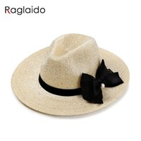 Wholesale Hollow Out Jazz Hat - Wholesale- 2016 Ladies Straw Hats Summer Ladies Pearl Jazz Hats Paillette Beach Sun Hats Hollow Out 57cm Fashion Bowknot Women Hat LQJ01112