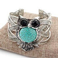 Wholesale Antique Russian Silver Jewelry - Antique Vintage Silver Turquoise Bracelet Bangle owl Turquoise Stone Bracelet Jewelry carved Europe and Russian 925 silver plated owl bangle