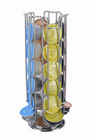 Wholesale free standing kitchens - Free Shipping 24 Coffee Pod Holder Rotating Revolving Rack Tower Capsule Stand For Dolce Gusto