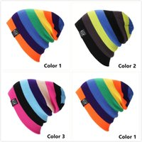 Wholesale Rainbow Knitted Hat - 2016 New Unisex Fashion Cap Beanies Ski Hat Knitting Slouchy stripe Rainbow Colorful Sport Casual Spring Autumn Winter Cap Bonnet , 3 Color