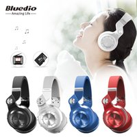 Wholesale Sd Card Radios - Bluedio T2+ (Turbine 2 Plus) foldable bluetooth headphone Bluetooth 4.1 headset support SD card and FM Radio with gift box for calls music