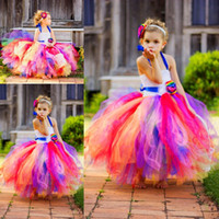 Wholesale Kids Pink Rainbow Dress - Colorful Rainbow Halter Girls Pageant Dresses 2016 Tulle Ball Gown Flower Girls Dresses With Handmade Flowers Kids Christmas Formal Wear