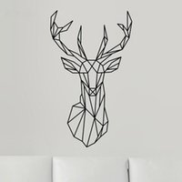 2017 New Design Geometric Deer Head Autocollant mural Geometry Animal Series Decals 3D Vinyl Wall Art Custom Home Decor Taille 51x86 cm
