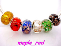 Wholesale Foil Beads - 50PCS mixed Fashion Silver & Gold FBeads Foil Lampwork Glass Charms DIY Beads for Bracelet Wholesale in Bulk Low Price