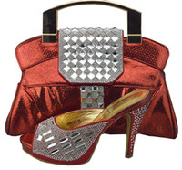 Wholesale Gorgeous Silver Shoes - Gorgeous african shoes match bags series 1308-37 red with rhinestone lady shoes and handbag set for party