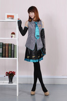 Wholesale Anime Cosplay Vocaloid - Anime Vocaloid Hatsune Miku Cosplay Costume Halloween Women Girls Dress Full Set Uniform and Many Accessories