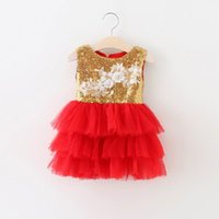 Wholesale Tiered Ruffle Sundress - 2016 Summer New Girl Dresses Sequins Lace Tiered Party Sundress Princess Fluffy Dress Cake Dress Children Clothing 16906