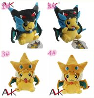 Wholesale Pokemon Charizard Plush - 4designs Poke Center Mega Tokyo Pikazard Pikachu Charizard Magikarp Brinquedo Plush Toys Stuffed Doll plush toys gifts D859
