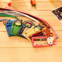 Wholesale Totoro Card - Cartoon Totoro Hello Kitty Bank Credit Card Holders Women Men Silicone Neck Strap Card Bus ID Holders Identity Badge Lanyard