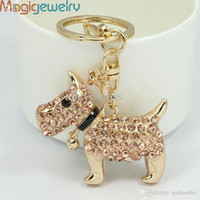 Wholesale Wholesale Dog Items - Wholesale-New Unique Novelty Items Rhinestone Bell Dog Key Chains Keyring Holder Fashion Animal Keychain Purse Charm Handbag Pendant Gift