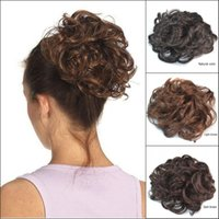 Wholesale Hair Extension Chignon - Sara Hot !!! Messy Chignon Buns Kinky Curly Synthetic Hair Bun 13CM*13CM Brown Chignon Clip in Buns Hairpiece Toupee Hair Extension Updo