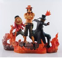 Wholesale Anime One Piece Ace - 3pcs set 14-17CM Anime One Piece DXF Luffy Ace Sabo Boxed PVC Action Figures Collectible Model Toys free shipping