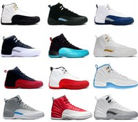 Wholesale Silver French Lace - 2017 air retro 12 XII basketball shoes ovo white Flu Game GS Barons wolf grey Gym red taxi playoffs gamma french blue sneaker