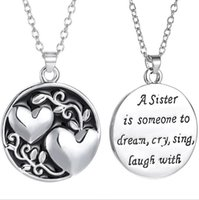 Wholesale Laugh Necklace - 2017 Hot A Sister is Someone to dream,cry sing,laugh with Double Heart Chain Necklace 20inches