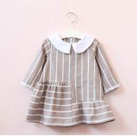 Wholesale Ruffle Pans - 2017 Autumn New Girls Dresses fashion Peter pan collar stripe long sleeve Dress Children Clothing E317473