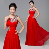 Wholesale Lace Bodice Special Occasion Dresses - 2016 Summer Key chain One Shoulder Evening Dresses Bodice Red Beaded Crystal Zipper Chiffon Long Prom Party Gown DHL