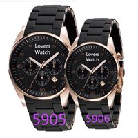 Wholesale Wrist Stop Watches - luxury New Mens Black Rose Gold Chronograph 5905 Sport Watch Stop Watches Men Rubber Wrist Hours + Box