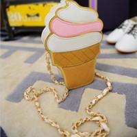 Wholesale Small Cupcake - New Cute Cartoon Women Ice cream Cupcake Mini Bags PU Leather Small Chain Clutch Crossbody Girl Shoulder Messenger bag LL1168