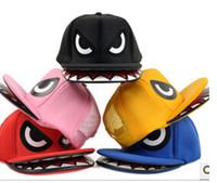 Wholesale Cartoon Sharks Hats - Fashion Snapbacks Caps Hats Shark Mouth Hip Hop Hat Flat Hat Truck Cap Cartoon Cap Design Caps Fashion Hat
