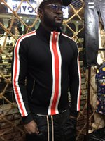 Wholesale Stripe Cardigan Men - 2017 Men Classic stripes Printing Top Sweatshirts Long Sleeve hoodie Shirts orange Brand New black size M-XXL DS127