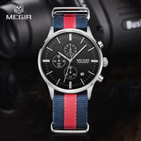 Wholesale Canvas Water Round - MEGIR casual chronograph military water resistant quartz watch men luminous canvas strap wristwatch 2011 free shipping